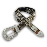Forest Camouflage Studded Belt with Rhinestone Buckle and Skulls