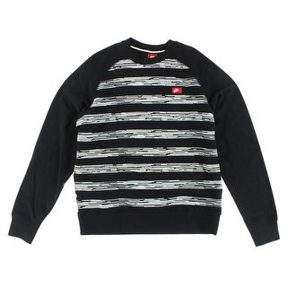Nike Mens AW77 Speed Stripe Crew Sweatshirt Black - BLACK/WHITE