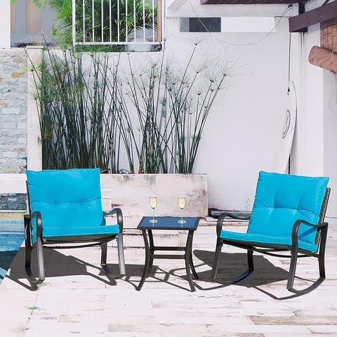 3 PC Rocking Bistro Set Patio Furniture Wicker Patio Chair with Removable Padded Cushion