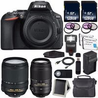 Nikon D5600 DSLR Camera with 18-140mm Lens (Black) International Model 1577 + Nikon 55-300mm f/4.5-5.6G ED VR Lens Bundle