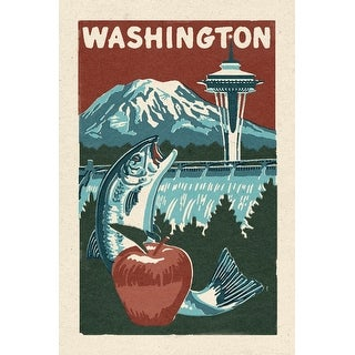 Washington State - Woodblock - Lantern Press Artwork (Cotton/Polyester Chef's Apron)
