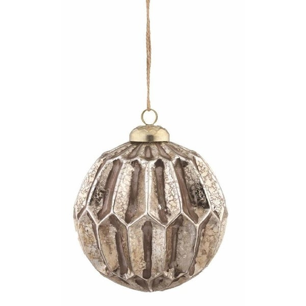 "3.75"" Distressed Antique Gold Mercury Glass Honeycomb Ball Christmas Ornament"