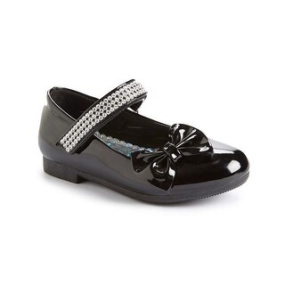 Little Girls Black Rhinestone Strap Bow Patent Mary Jane Flats 5-10 Toddler