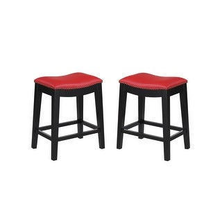 Emerald Home Faux Leather Saddle Seat Counter Height Barstool (Set of 2)