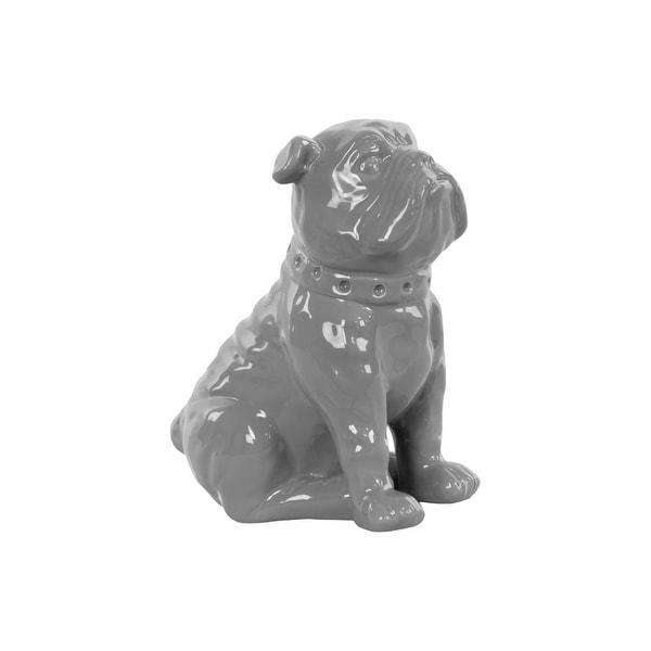 Ceramic Sitting British Bulldog Figurine with Collar, Glossy Gray