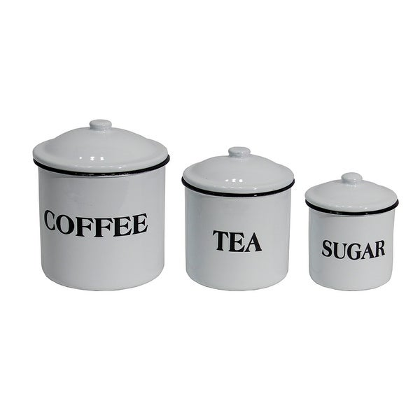 Coffee Tea and Sugar White Enameled Kitchen Canister Set of Three