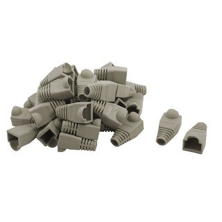 RJ45 Plastic Ethernet Cable Connector Strain Relief Boots Plug Cover Gray 47 Pcs