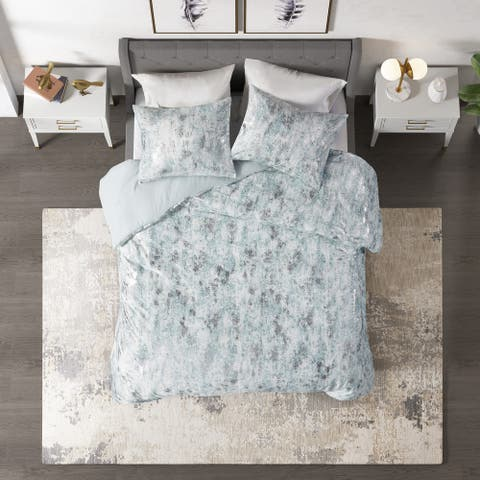 CosmoLiving Pearl Metallic Printed Velvet Duvet Cover Set