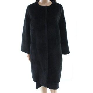 Max Mara NEW Black Women's Size 8 Wool Blend Button Down Coat