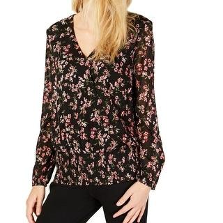 INC Womens Blouse Black Multi Size Large L Floral Surplice Smocked-Hem