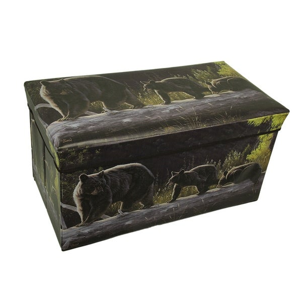 Shop Rustic Black Bear Forest Folding Storage Chest
