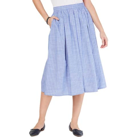 Tommy Hilfiger Womens Maxi Skirt Cotton Striped - Blue/White - XS