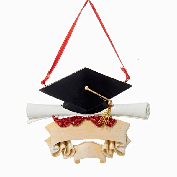 """4.25"""" Black Cap and Scroll Graduation Hanging Christmas Ornament for Personalization"""
