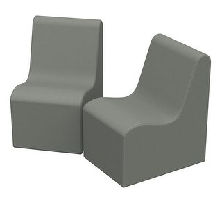 36 x 24 x 28 in. SoftZone Wave Youth Chair, Pack of 2 - Grey