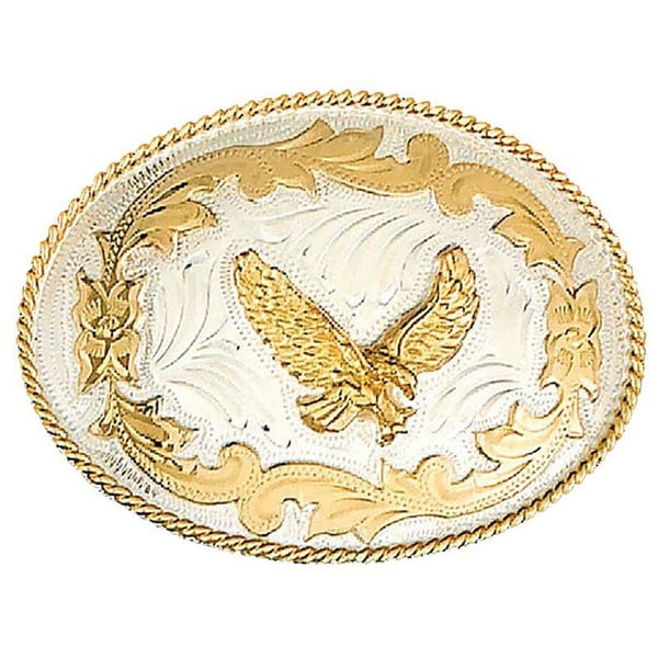 German Silver Tone Belt Buckle with Gold Toneen Eagle and Floral Detail - One size