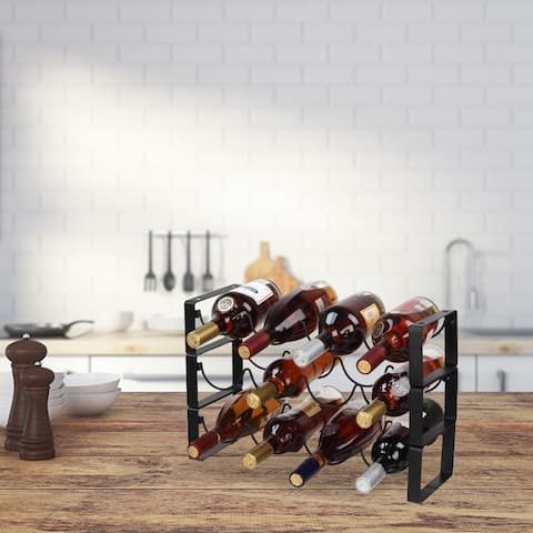 3 Tier Stackable Wine Rack 12 Bottles Metal Wine Rack