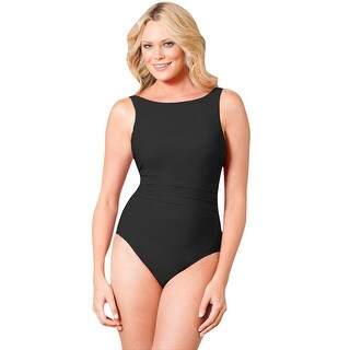 Miraclesuit Black DD-Cup Regatta Underwire High Neck Swimsuit (More options available)