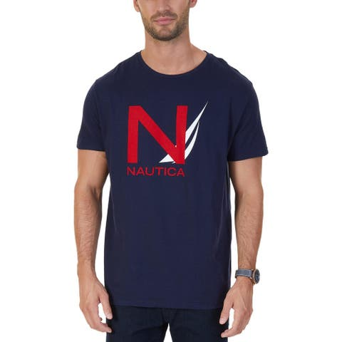 Nautica Mens Big & Tall T-Shirt Graphic Crew Neck - Navy - LT