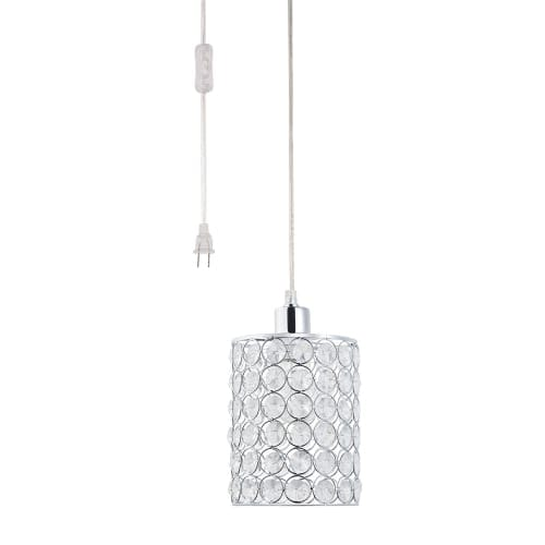 """Globe Electric 65142 1 Light 7"""" Wide Pendant with Crystal Cylinder Shade"""