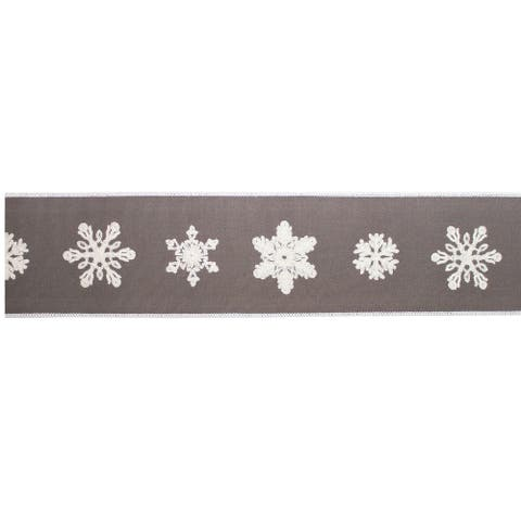 """Pack of 2 Taupe and White Snowflakes Wired Ribbons 4"""" x 5 Yards"""