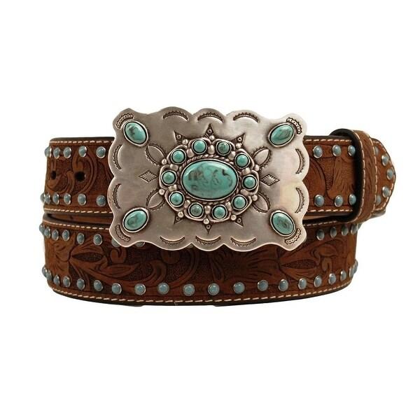 Nocona Western Belt Womens Brads Stones Leather Medium Brown