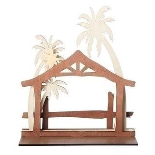 "15"" Brown and Ivory Nativity Stable Scene Christmas Table Wood Cutout"
