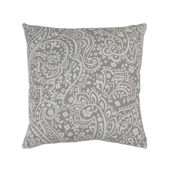 "18""Hazy Gray and Lily White Paisley Woven Decorative Throw Pillow"