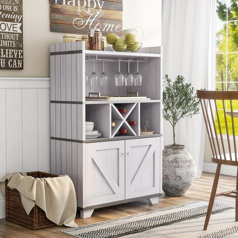 Furniture of America Keya Farmhouse Wine Cabinet Buffet