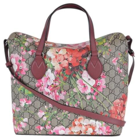 Gucci 427147 Supreme Canvas GG Floral Blooms 2-Way Purse Handbag - Beige/Brown