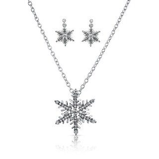 Bling Jewelry Crystal Snowflake Necklace Drop Earrings Set Rhodium Plated