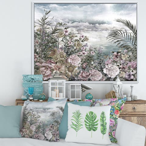 Designart 'Retro Flowers By The Sea Side' Vintage Framed Canvas Wall Art Print