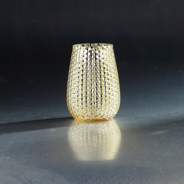 """6"""" Gold Colored Pattern Hand Blown Glass Candle Holder - N/A"""