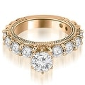 4.65 cttw. 14K Rose Gold Antique Round Cut Diamond Engagement Set - Thumbnail 2
