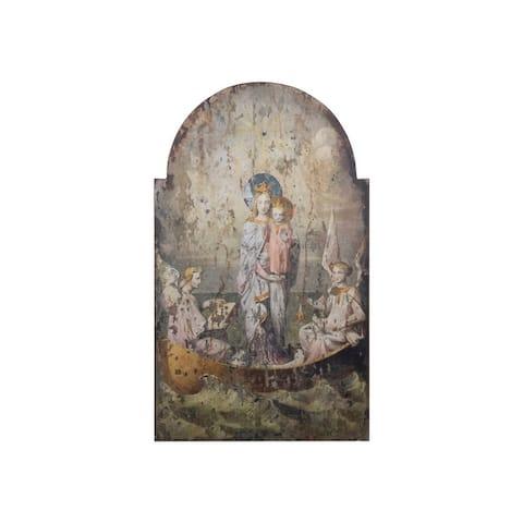 Vintage Mary & Angels Image on Decorative Wood Wall Decor - Grey