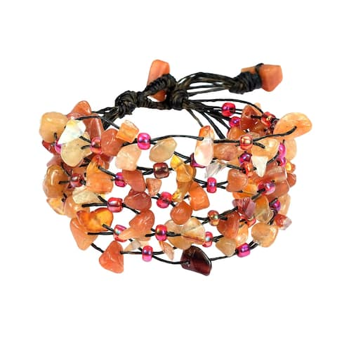 Handmade Cascading Orange Carnelian Stone Cluster on Cotton Rope Layered Bracelet (Thailand)