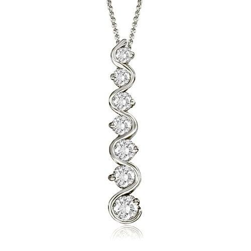 1.00 cttw. 14K White Gold Round Cut Diamond Seven-Stone Journey Pendant