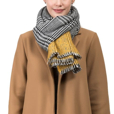 "Glitzhome 71""L Yellow and Grey Scarf with Fringes"