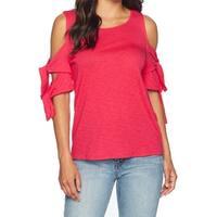 CeCe Pink Women's Size Medium M Cold Shoulder Tie Sleeve Knit Top
