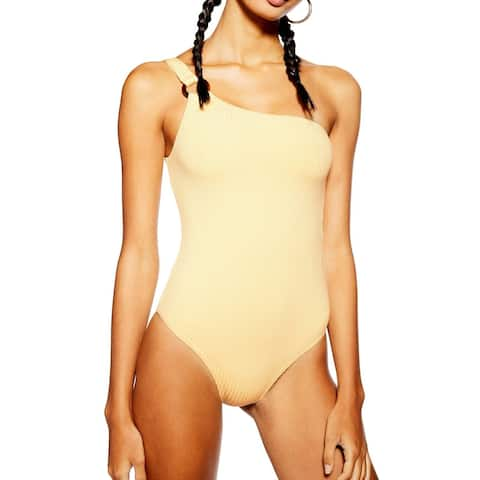 Topshop Womens Swimwear Sun Yellow Size 10 One-Piece Ribbed Grommet