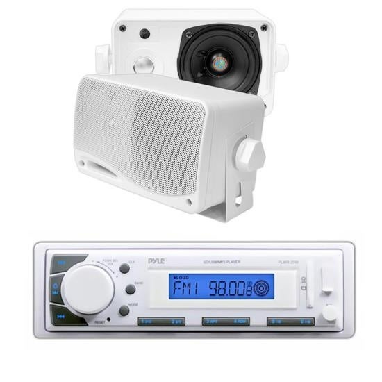 "Pyle In-Dash Marine AM/FM USB/SD Stereo Player Receiver Aux-In for iPod/MP3 + 2 x 3.5"" 200W Speakers"