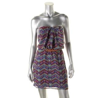 City Triangles Womens Juniors Casual Dress Chiffon Printed - L