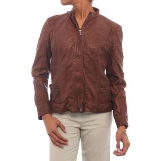 Cole Haan  Leather Moto Jacket Basic Jacket Sad