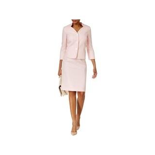 Le Suit Womens Skirt Suit 3 Button Blazer Jacquared