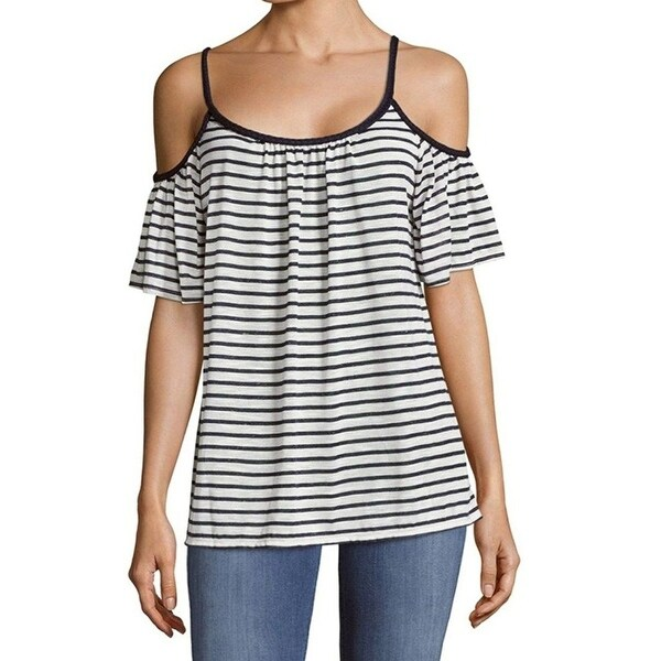 136ba693974 Max Studio Blue White Women Size Large L Striped Cold-Shoulder Knit Top -  Free Shipping On Orders Over $45 - Overstock - 28020206