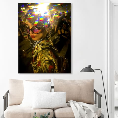 Oliver Gal 'Curro Cardenal - Festival Rave II' Entertainment and Hobbies Wall Art Canvas Print Festivals - Yellow, Black