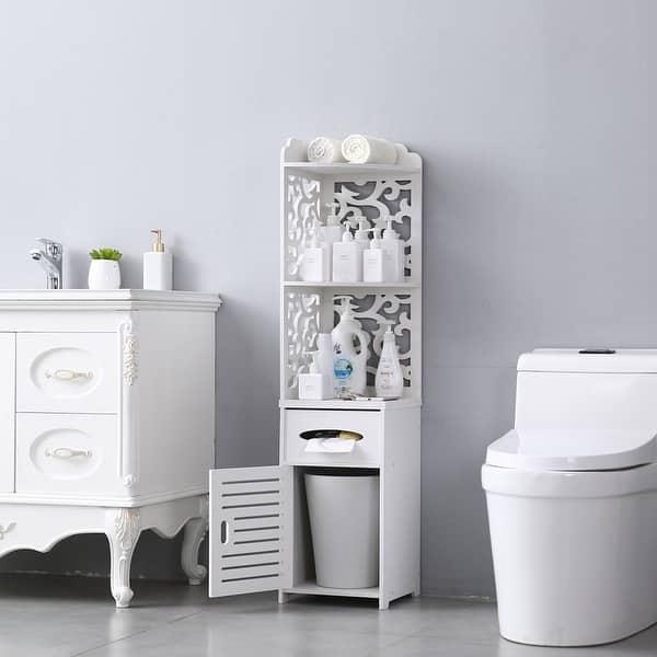 Bathroom Storage Corner Floor Cabinet Thin Toilet Vanity Cabinet Narrow Bath Sink Organizer Paper Holder On Sale Overstock 30140006 White