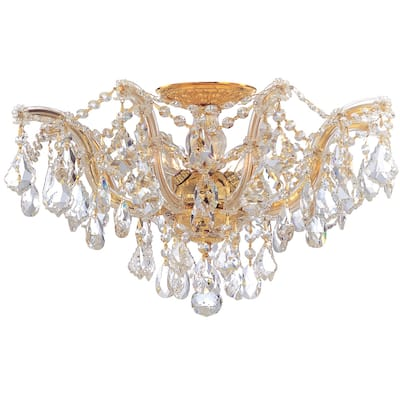 Maria Theresa 5 Light Clear Crystal Gold Semi-Flush - 19'' W x 11.5'' H