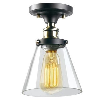 Globe Electric 65380 1 Light Flush Mount Ceiling Fixture with Clear Glass Shade