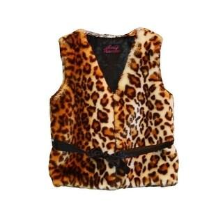 Little Girls Brown Leopard Faux Fur Vest 1T-6 (3 options available)