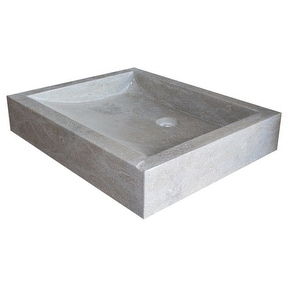 Angled Flow Rectangular Natural Stone Vessel Sink - Sea Grass Marble